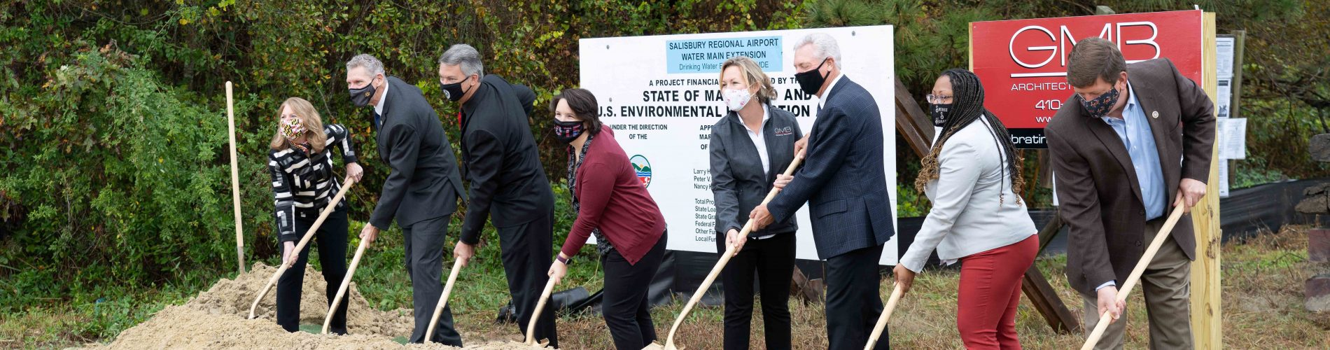 A photo of water main extension ground breaking