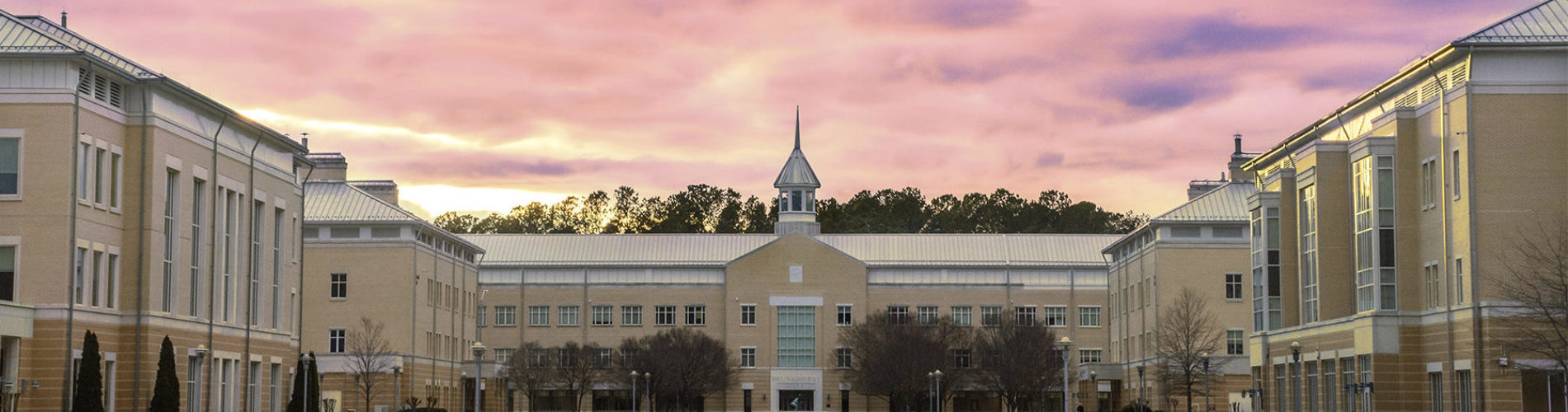 A photo of the Wor-Wic Community College building at dusk
