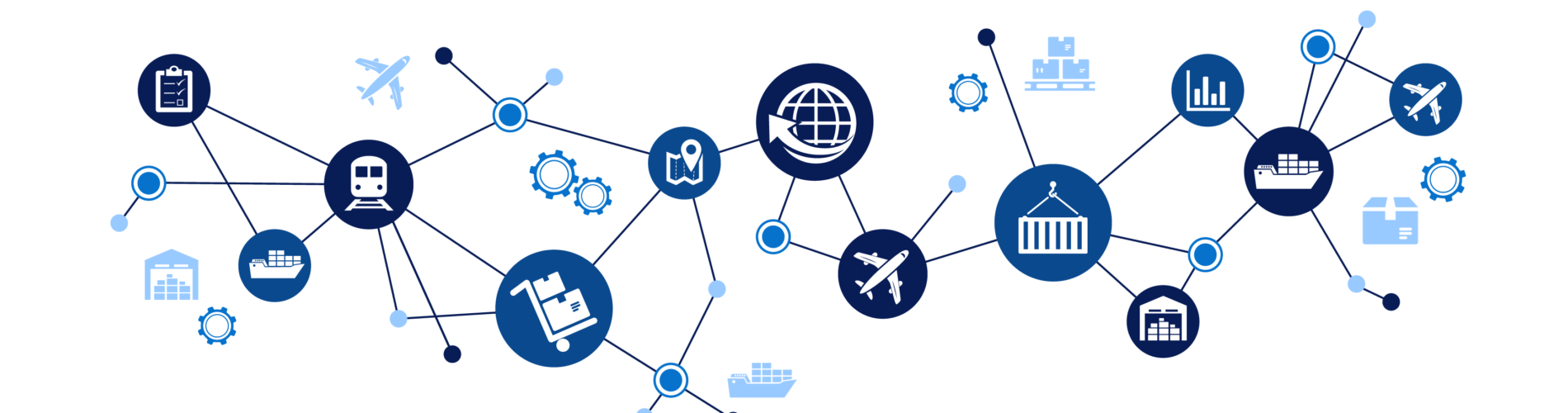 And icon set demonstrating supply chain