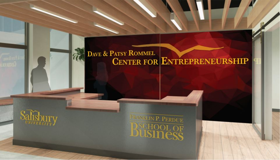 A rendering of the front desk for the dave and patsy rommel center for entrepreneurship snippet taken from informational pdf