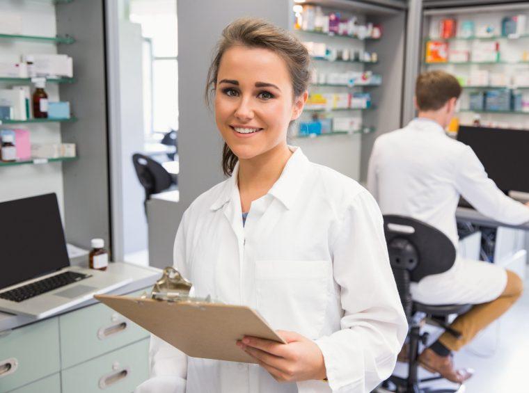 Pharmacy intern smiling at camera