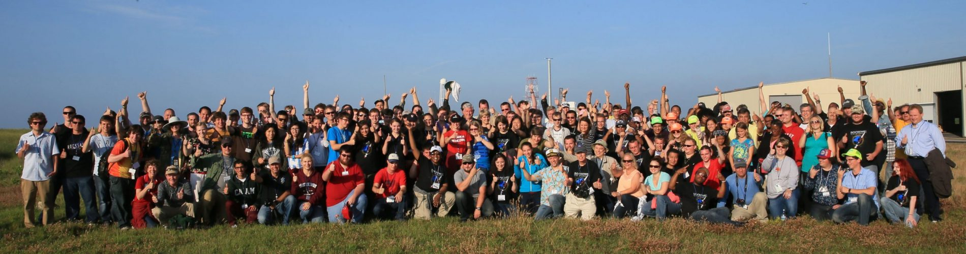 The students and teachers of RockOn signal the successful launch with a thumbs-up.