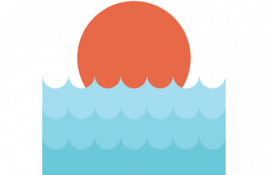 Sunset and ocean icon